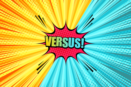Comic versus light template with red speech bubble sound halftone radial rays humor effects in yellow and turquoise colors. Vector illustration