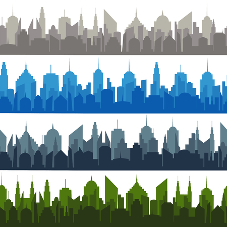 Bright comic cityscapes seamless pattern with gray brown blue and green city silhouettes on light background vector illustration