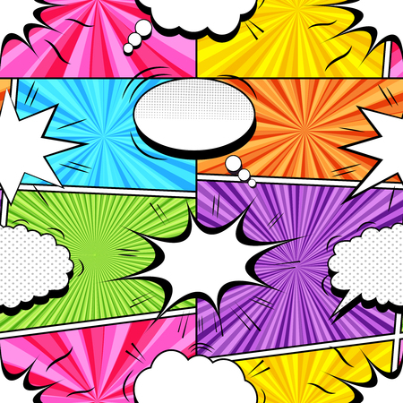 Comic colorful explosive seamless pattern with white speech bubbles sound clouds and radial humor effects. Vector illustration
