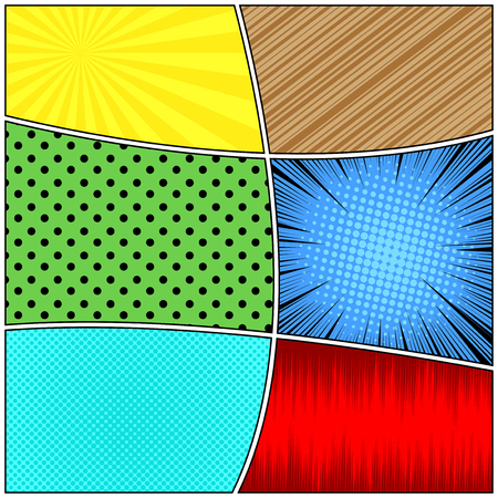 Comic book page composition with halftone radial dotted slanted lines rays humor effects. Vector illustration