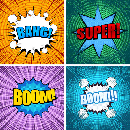Comic book page collection with colorful speech bubbles colorful wordings circles halftone explosive and rays humor effects. Vector illustration