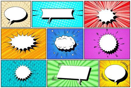 Komische witte tekstballonnen collectie met wolken radiale halftoon schuine lijnen en stralen humor effecten. vector illustratie