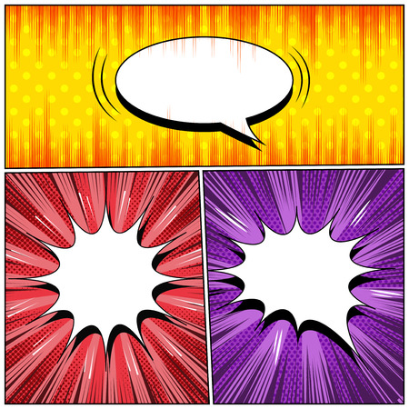 Comic three explosive backgrounds with white speech bubbles radial sound halftone dotted and rays humor effects. Vector illustration
