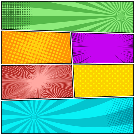 Comic book colorful background with halftone radial dotted rays humor effects. Vector illustration Ilustração