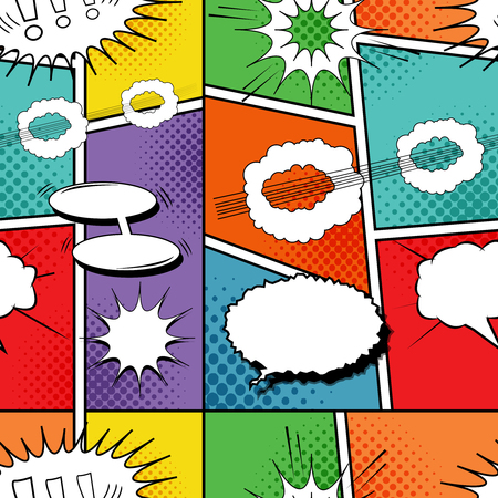 Comic dynamic colorful seamless pattern with white blank speech bubbles clouds sound and humor effects. Vector illustration