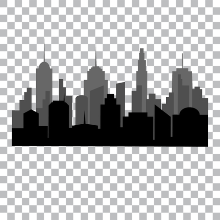 Flat cityscape monochrome design concept with city silhouette on transparent background isolated vector illustration  イラスト・ベクター素材
