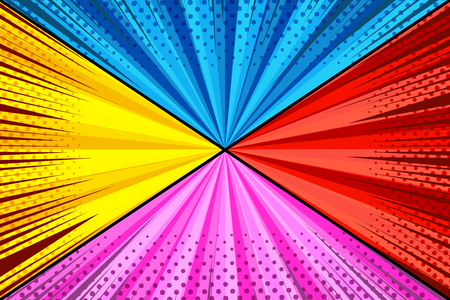 Comic colorful explosive composition with four yellow blue red pink backgrounds rays dotted radial humor effects. Vector illustration Çizim