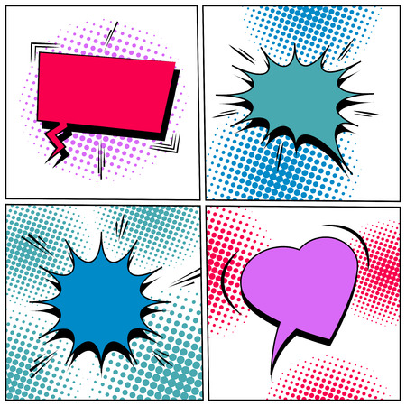 Comic colorful blank speech bubbles set with halftone and sound effects on white backgrounds. Vector illustration