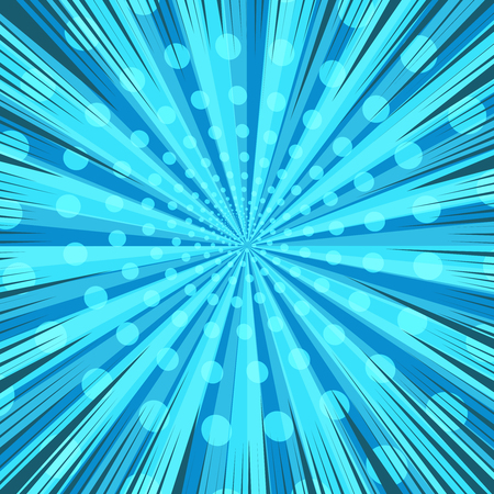 Comic book page blue dynamic template with rays spiral radial effects. Vector illustration