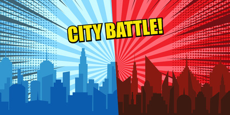 Comic city battle concept with blue and red cityscapes radial rays halftone humor effects. Vector illustration  イラスト・ベクター素材