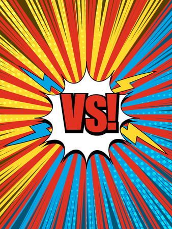 Comic versus composition with white speech bubble halftone lightnings rays radial humor effects in yellow blue red colors. Vector illustration