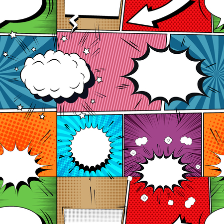 Comic book seamless pattern with speech bubbles stars clouds arrow sound and humor effects. Vector illustration Stock Illustratie