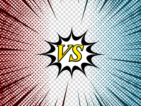 Comic duel composition with white speech bubble VS wording two opposite red and blue halftone rays humor effects on transparent background. Vector illustration Illustration