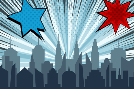 Comic cityscape bright explosive concept with city silhouette radial rays halftone humor effects blue and red starry dynamic speech bubbles. Vector illustration
