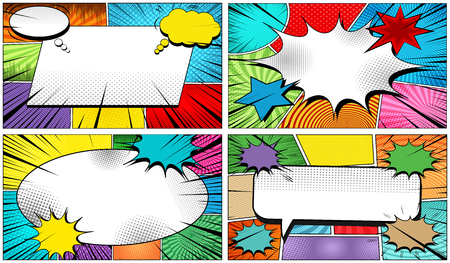 Comic colorful elegant bright composition with blank big speech bubbles dynamic clouds explosive black rays and different humor effects. Vector illustration Ilustração