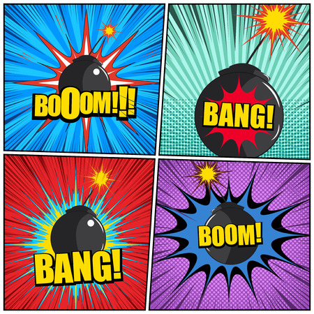 Comic pages explosive colorful composition with bombs Boom Bang wordings speech bubbles dotted halftone radial and rays humor effects. Vector illustration