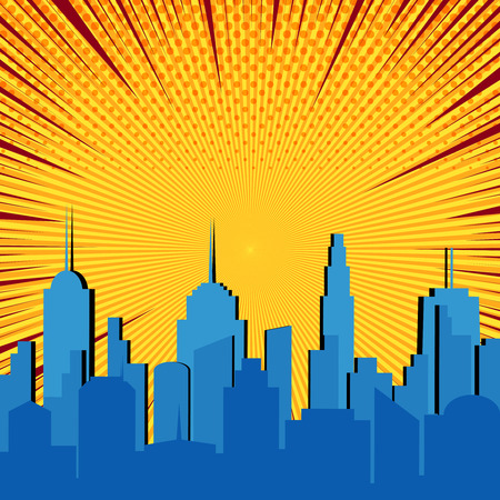Comic blue cityscape explosive template with city silhouette yellow radial halftone and red rays humor effects. Vector illustration