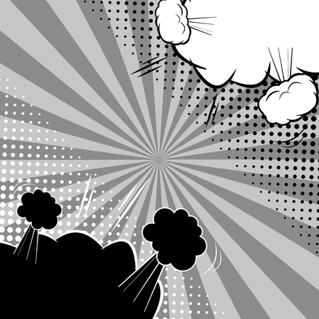 Comic abstract versus monochrome template with white speech bubbles in corners of composition sound radial halftone humor effects. Vector illustration