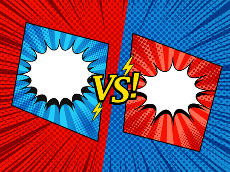 Comic versus elegant template with white speech bubbles VS wording lightnings square frames two opposite red and blue sides halftone radial rays humor effects. Vector illustration Vector Illustratie
