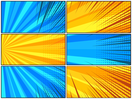 Comic page motion composition with dynamic radial rays and halftone humor effects in blue and yellow colors. Vector illustration