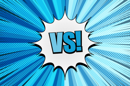 Comic fight background with white speech bubble VS wording two opposite light and dark blue sides radial halftone rays humor effects. Vector illustration