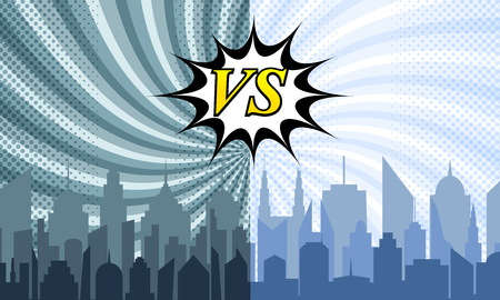 Comic city battle template with speech bubble VS wording two cityscapes radial and halftone humor effects. Vector illustration  イラスト・ベクター素材