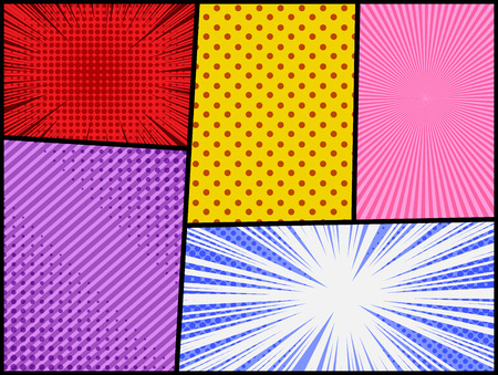 Comic abstract colorful background with halftone radial rays stripes dotted humor effects. Vector illustration