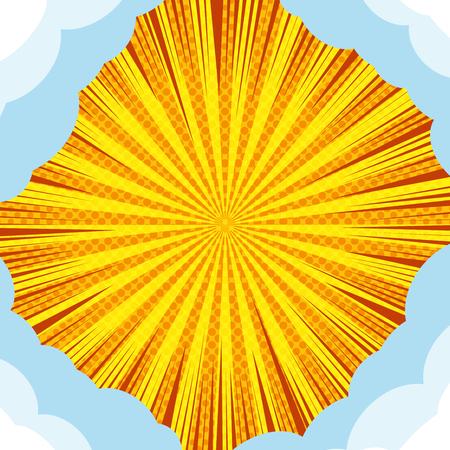 Komisches abstraktes helles Konzept mit Wolken in den Ecken radialer Strahlen und Halbton-Humor-Effekten in gelben Farben. Vektor-Illustration