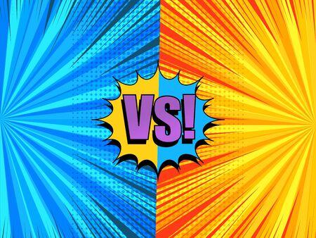 Composición cómica versus ligera con bocadillo colorido VS redacción de rayos de semitono efectos de humor radial en colores naranja y azul. Ilustración vectorial Ilustración de vector
