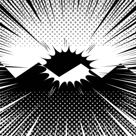 Comic duel monochrome template with speech bubble sound halftone and rays humor effects in white and black colors. Vector illustration