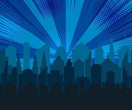 Comic blue cityscape concept with city silhouette radial rays halftone humor effects. Vector illustration