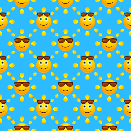 Bright summer seamless pattern with smiling suns in sunglasses on blue background. Vector illustration