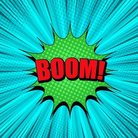 Comic explosive light template with red Boom wording green speech bubble rays radial and halftone effects on turquoise background. Vector illustration Illustration