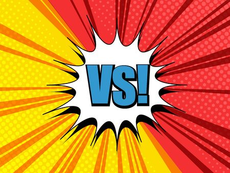 Comic duel and fight bright template with white speech bubble blue VS wording red and yellow beams halftone humor effects. Vector illustration