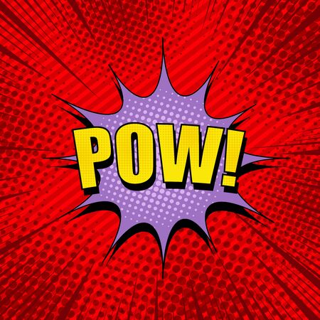 Comic explosive bright concept with yellow Pow wording purple speech bubble rays slanted lines and halftone effects on red background. Vector illustration