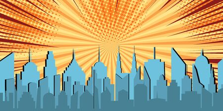 Comic light cityscape concept with city buildings orange radial rays and halftone effects. Vector illustration Illustration