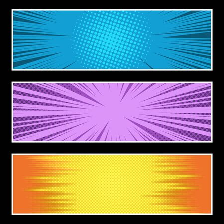 Comic bright horizontal explosive banners with halftone and rays humor effects in yellow purple blue colors on black background. Vector illustration