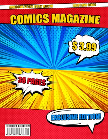 Bright comics magazine with colorful wordings white speech bubbles duel backgrounds radial halftone rays effects. Vector illustration