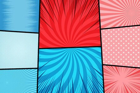 Comic backgrounds colorful composition with radial halftone rays dotted humor effects in red and blue colors. Vector illustration