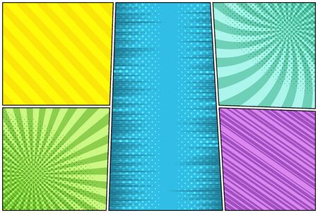 Comic colorful scenes composition with radial slanted lines halftone rays dotted humor effects. Vector illustration Illustration