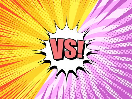 Comic explosive fight background with white speech bubble VS wording pink and yellow beams halftone radial humor effects. Vector illustration