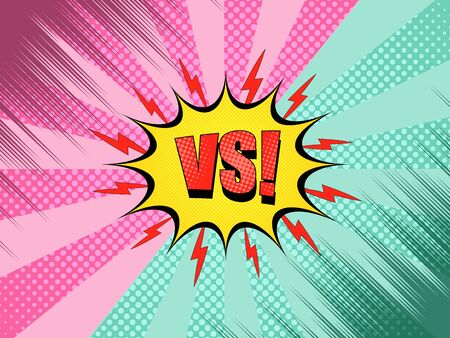 Comic versus background with yellow speech bubble red VS wording lightnings pink and green halftone radial rays humor effects. Vector illustration
