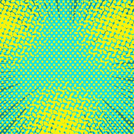 Comic abstract light concept with rays dotted and halftone effects in yellow and turquoise colors. Vector illustration