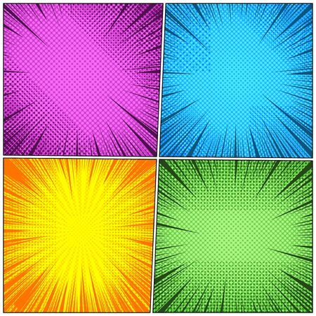 Comic book backgrounds composition with halftone radial and rays humor effects in blue orange green purple colors. Vector illustration