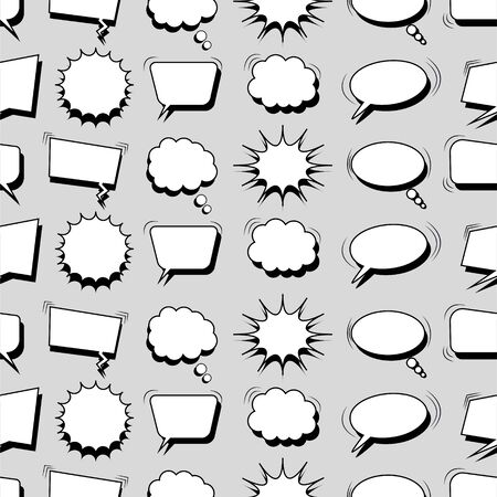 Comic monochrome design seamless pattern with white speech bubbles and sound effects on gray background. Vector illustration