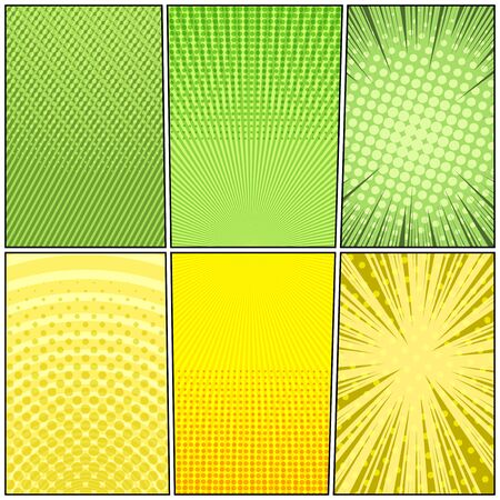 Comic frames bright composition with radial halftone circles rays dotted slanted lines humor effects in green and yellow colors. Vector illustration