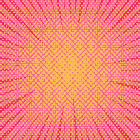 Comic abstract light background with rays and dotted effects in yellow and pink colors. Vector illustration