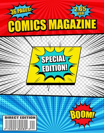 Colorful explosive comics magazine with wordings speech bubbles duel and transparent backgrounds radial halftone rays effects. Vector illustration