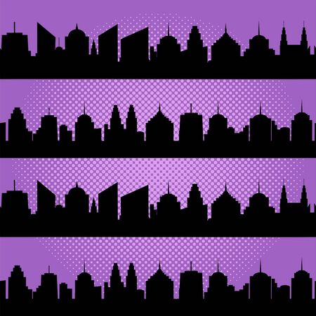 Comic cityscapes seamless pattern with black city silhouettes and halftone effects on purple background. Vector illustration Illustration