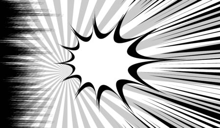 Comic monochrome dynamic concept with speech bubble radial and rays effects. Vector illustration Stock Illustratie